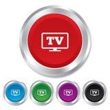 Fernsehzeichenikone mit großem Bildschirm. Fernsehersymbol. Stockfotos