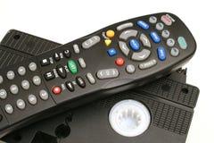 Fernsteuerungs mit VHS nimmt upclose auf Band auf Stockbilder