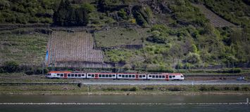 Railroad track along the vineyards on the Rhine. Germnay royalty free stock photos