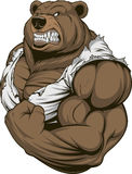Ferocious Bear athlete. Vector illustration, a ferocious bear athlete posing, showing large biceps Stock Photo