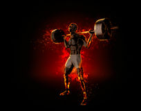 Ferocious bodybuilder with a barbell. 3d rendering.  Stock Image
