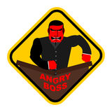 Ferocious boss. Chief, businessman red with anger. Breaks the ta. Ble with his fist. Vector sticker, sign Royalty Free Stock Images