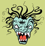 Ferocious Creature. Face of a monster with fangs, white eyes and swirling hair Royalty Free Stock Photo
