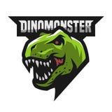 Ferocious dinosaur logo. Ferocious dinosaur Head of an ancient lizard logo mascot Stock Image