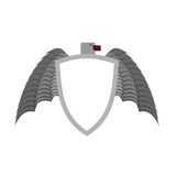 Ferocious gray bird heraldic element for  coat of arms.. Ferocious gray bird heraldic element for coat of arms. White shield is a symbol of protection Stock Image