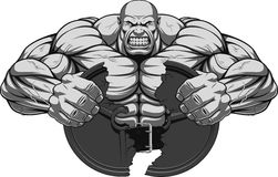 Ferocious strong athlete. Vector illustration, a fierce strong athlete breaks the iron disk for barbell vector illustration