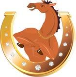 Ferradura e cavalo dourados ilustração stock