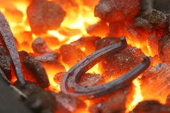 Ferradura em uma forja Foto de Stock