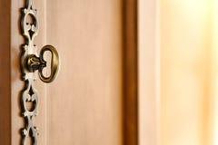 Ferragem decorativa do punho de porta da mobília de madeira velha Imagens de Stock