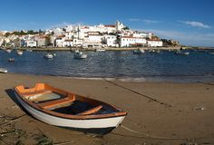 Ferragudo with fishing boat Royalty Free Stock Images
