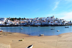 Ferragudo fishing village in the algarve stock images