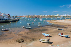 Ferragudo, Portugal. Little fisher and turistic town in Algarve Royalty Free Stock Photos