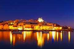 Ferragudo przy nocą w Portugalia Obraz Royalty Free