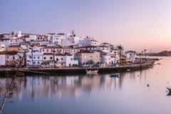 Ferragudo village at sunset royalty free stock photo