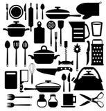 Ferramenta da cozinha. Ícones do vetor da cutelaria ajustados Fotos de Stock Royalty Free