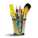 Ferramenta da pintura no grupo do escritório e da escola Ferramenta do lápis, da régua e do objeto no fundo branco Imagens de Stock
