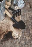 Ferramenta de jardim, pá, ancinho, lata molhando, cubeta, saco em um de madeira Fotografia de Stock