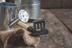 Ferramenta de jardim, pá, ancinho, lata molhando, cubeta, saco em um de madeira Foto de Stock Royalty Free