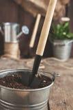Ferramenta de jardim, pá, ancinho, lata molhando, cubeta, tabuletas para o pla Imagens de Stock Royalty Free