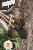 Ferramenta de jardim, pá, ancinho, lata molhando, cubeta, tabuletas para o pla Fotos de Stock Royalty Free