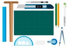 Ferramenta de papel, materiais de escritório Imagens de Stock