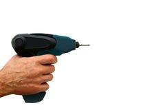 A ferramenta elétrica para torcer dos parafusos em um fundo branco Fotos de Stock Royalty Free