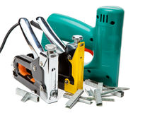 A ferramenta - grampeadores bondes e mecânico manual. Ainda-vida na Foto de Stock