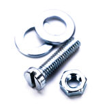 A ferramenta sextavada de aço de prata do parafuso objeta o macro fotos de stock royalty free