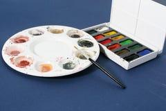 Ferramentas da arte - placas da cor de água Foto de Stock Royalty Free