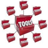 Ferramentas da caixa de ferramentas que aumentam a missão do objetivo do sucesso das habilidades Fotografia de Stock