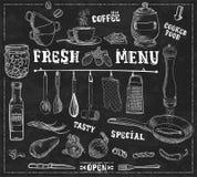 Ferramentas da cozinha, ingredientes de alimento com ilustração feito a mão dos subtítulos Imagens de Stock