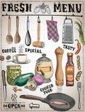 Ferramentas da cozinha, ingredientes de alimento com subtítulos na ilustração feito a mão Foto de Stock