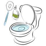 Ferramentas da limpeza da bacia de toalete Fotos de Stock