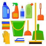 Ferramentas da limpeza da casa Elementos da limpeza Ícones dos aparelhos eletrodomésticos ajustados Imagens de Stock