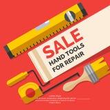 Ferramentas da mão da venda para a renovação e a construção home ilustração stock