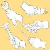 Ferramentas da mão no uso Ilustração Stock