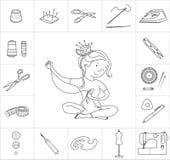 Ferramentas da menina e da costura da costureira, linha vetor Imagens de Stock Royalty Free