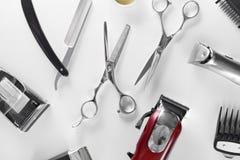 Ferramentas da preparação do ` s dos homens Branco de Barber Equipment And Supplies On Imagens de Stock Royalty Free