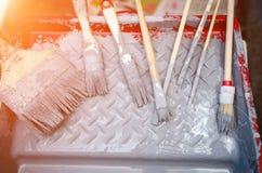 Ferramentas da renovação da casa Grupo de escova de pintura Imagens de Stock Royalty Free