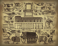 Ferramentas de cultivo velhas ilustração royalty free