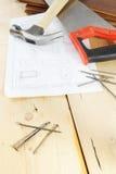 Ferramentas de funcionamento do carpinteiro Fotografia de Stock