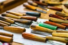 Ferramentas de funcionamento do carpinteiro Foto de Stock