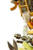 Ferramentas de funcionamento do vintage (martelo, brocas e outro fotos de stock royalty free