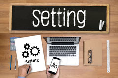 Ferramentas de instalação instalação da configuração e engodo do ajuste do mecanismo da roda Fotos de Stock