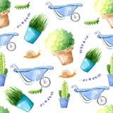 Ferramentas de jardim da aquarela A colagem da composi??o das plantas, p?ssaros e flores, aperfei?oa para convites do casamento d ilustração stock