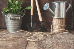 Ferramentas de jardim, pá, ancinho, lata molhando, cubeta, tabuletas para o pl Fotografia de Stock