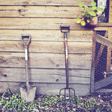 Ferramentas de jardinagem com efeito retro Fotografia de Stock Royalty Free