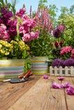 Ferramentas de jardinagem exteriores na tabela de madeira velha Fotos de Stock Royalty Free