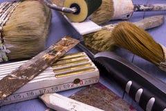Ferramentas de pintura usadas Fotografia de Stock