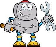 Ferramentas de terra arrendada do robô dos desenhos animados ilustração do vetor